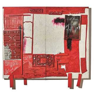 Medium no.8                  wang huaiqing  house in a house red bed  diptych